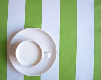Superbe Tablecloth White Green Fat Stripes , Also Curtains Available, Great GIFT