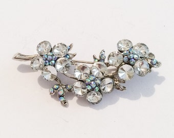 Blue Rhinestone Floral Spray, Pin or Brooch, Rivoli Clear Glass, 1940s Vintage Jewelry SALE