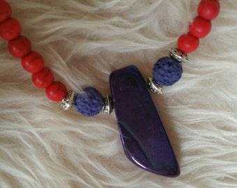GlamorRocks! Handmade Necklace-Red Stone & Iridescent Purple Agate