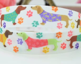 Colourful Sausage Dog print 15mm single sided 100% polyester, grosgrain ribbon per metre.