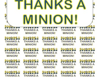 """50 Thanks a Minion! Thank You Envelope Seals / Labels / Stickers, 1"""" by 1.5"""""""