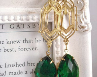 Green Rhinestone Earrings Art Deco Gatsby Earrings 1920's Inspired Jewelry Gift For Her