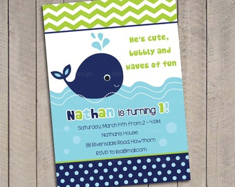 Whale Birthday Invitation Whale Birthday Invite Nautical