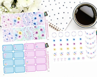 Planner Stickers | Watercolor Floral Collection| Full Box Stickers|Half Box Stickers|Watercolor Floral Elements|FB001, FE001, FB002