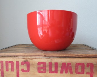 SALE - Large Red Finel Enamel Bowl by Kaj Franck Arabia Finland Finnish Design Mid Century Modern - WAS 75