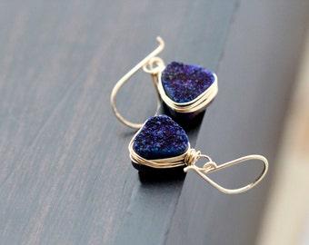 Druzy Gold Earrings , Dangle Earrings in Gold , Rose Gold , Sterling Silver , Triangle Drop Bezel Wrapped Geometric - Inkwell