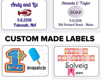 50 Custom Made LABELS, PERSONALIZED with Names, Date, Occasion, Artwork, Ideal for weddings, birthdays, showers, party favors, homemade food