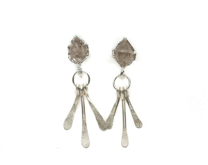 "Silver Herkimer Diamond ""Starburst"" Stud Earrings"
