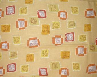 """Mid Century Modern, Decorator fabric, Retro, Gold and Melon, Home Decor, 56"""" wide, Cotton"""
