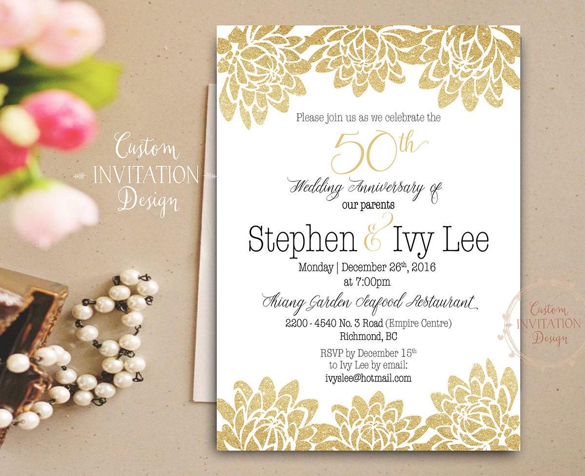 Feliz Aniversario En Espanol: 50th Anniversary Invitation Golden Wedding Anniversary
