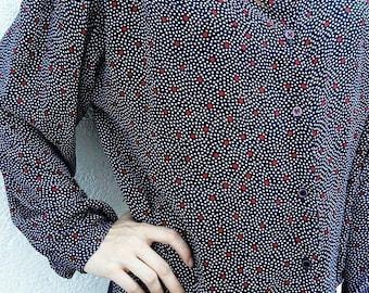 Vintage blue polka dot shirt / White and red polka dots