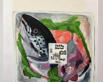 Acrylic still life painting // Salmon head // original art // illustration on paper // fish painting