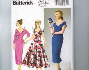 Misses Sewing Pattern Butterick B5983 5983 Misses Retro Peplum Rockabilly Dress Full Slim Skirt Size 14 16 18 20 22 UNCUT