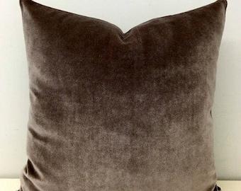 Light Brown Cotton Velvet Throw Pillows, Velvet Pillow Cover,  Luxury Brown Pillows, Decorative Pillows, Velvet Cushion Brown Velvet Pillows