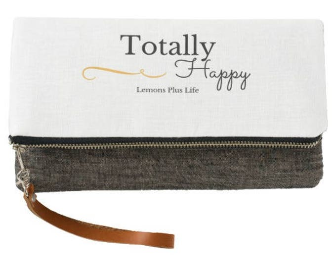 Totally Happy Charcoal and White Fold Over Clutch