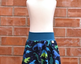 Wide Swinging and Swirling Skirt with Pockets - Dinosaurs