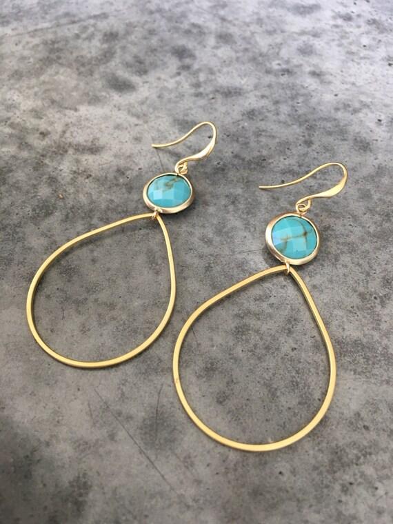 Turquoise Hoop earrings, boho jewelry, Hoops, boho wedding