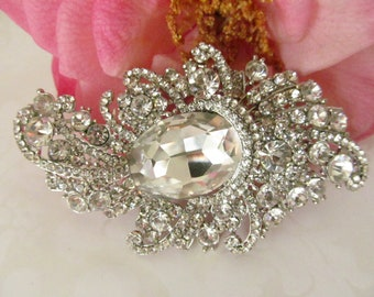 Rhinestone Brooch / Bridal Brooch / Crystal Brooch Component / RBR-35