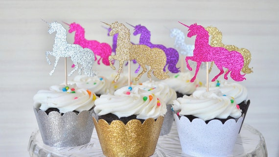 Glitter Unicorn Cupcake Toppers - Choose from Gold | Silver | Hot Pink | Light Pink | Purple | White | Red | Black | and many other colors!