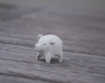 Pig Polymer Clay Miniature Sculpture Totem Animal