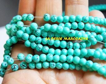set of 200 beads 4mm turquoise imitation acrylic bead color SEAFOAM