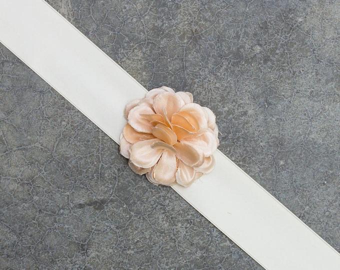 Ivory Satin Ribbon Belt Blush Pink Silk Flower Embellishment Handmade Bridal Sash Soft Light Romantic Wedding Dress 251