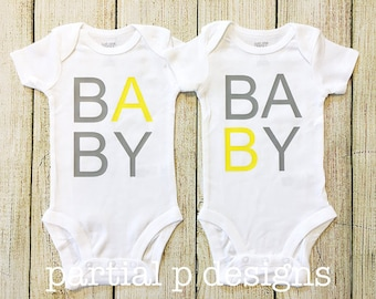 TWINS Pregnancy Announcement Bodysuits, Baby A and B, Baby Shower, Coming Home Outfit, Infertility