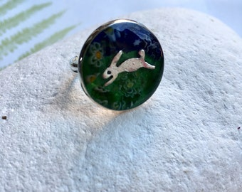 Rabbit Hare Ring, mosaic pet ring, vibrant cherished pet menory ring, four legged family jewellery, bunny rabbit jewelry, quirky stain glass