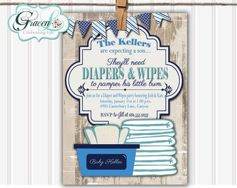 Baby Shower Invitation, Diaper and Wipes Baby Shower Invitation, Baby Boy Shower Invitation, Rustic Baby Shower Invitation, Baby Shower
