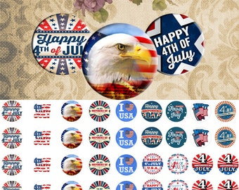 Happy 4th of july -  1/2 inch or 12 mm Images  sheets 4x6 Digital Collage INSTANT DOWNLOAD