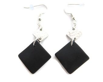 Black Sea Glass Earrings, Black Earring, Black Beach Glass Earring, Black Dangle, Black Drop,  Recycled Glass Earring, Black Diamond Earring