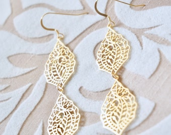 Gold Paisley Earrings - Lace Earrings, Art Deco Earrings, Unique Earrings, Long Earrings, Silver Earrings, Filigree Earrings,