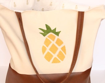 Pineapple Colorblock Tote Bag