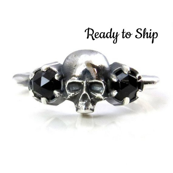 Ready to Ship Size 5.5 - 7.5 -  Skull Ring - Rose Cut Black Spinel and Sterling Silver - Gothic Engagement