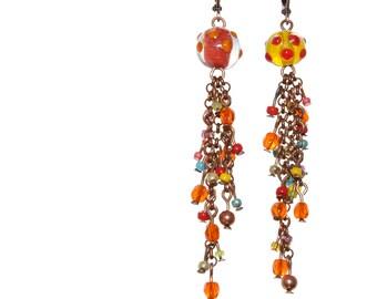 FESTIVAL LIGHTS Beaded Tassel Earrings , Summer Mode Clolorful Asymmetrical Ooak Long Errings