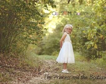 flower girl dress, off white girls dress, baby dress, baptism dress, christening dress, off white lace dress, wedding dress, girls dress,