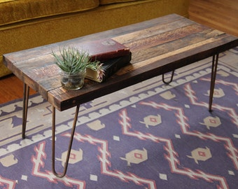 Bon Handmade Reclaimed Wood Coffee Table With Steel Hairpin Legs * FREE SHIPPING