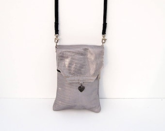 Silver Snakeskin Genuine Leather, Embossed,  Extra Large Cell Phone Purse with Flap