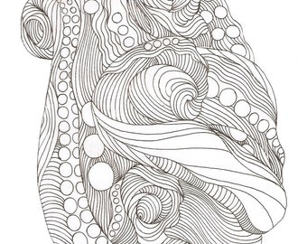 "Octopus Drawing - Dressed in Colors of Intrigue - Fine Art Giclee Print of 4""x6"" Linework Drawing"