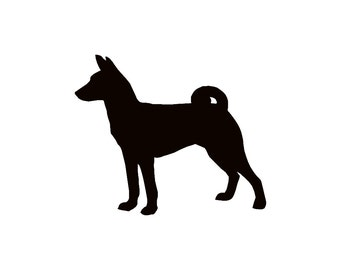 Basenji Dog Silhouette Custom Die Cut Vinyl Decal Sticker - Choose your Color & Size