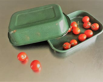 Vintage Green Enamelware Roasting Pan With Lid - Rustic Metal Kitchen Decor - Garden Transport