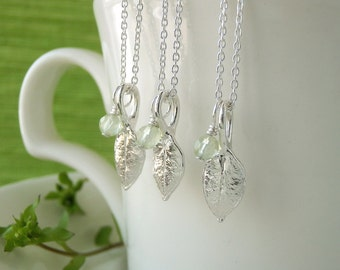 Bridesmaid gifts, Set of 3, Tiny Chickweed Leaf Necklaces - Pure Silver Real Leaf Pendant, Prehnite Gemstone, Botanical Wedding Jewelry