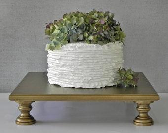 "Gold Cake Stand 12"" Wedding Square Cupcake Vintage Gold Cake Topper Wedding Decor E. Isabella Designs Featured In Martha Stewart Wedding"