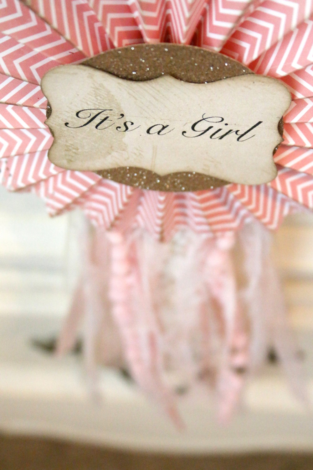 Victorian inspired IT\'S A Girl trophy ribbon with vintage