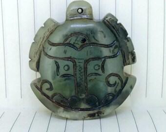 Antiqued Jade Pendant Carved Green Chimes Amulet Antique Design Talisman