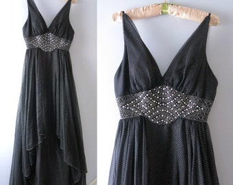 Crystal Noire Gown S/M | 1980s Mike Benet Glass Crystals Black Gown | 80s Party Dress