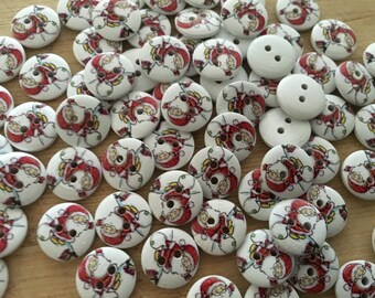 10 Santa Claus Christmas Round Wooden Patterned Buttons Sewing Crafts Scrapbooking Cards Novelty WB006