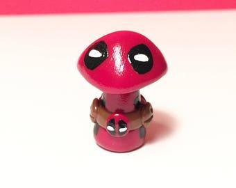 OOAK Marvel Inspired Deadpool Mini Character Pop Culture 'Shroom - Handpainted Polymer Clay Sculpture