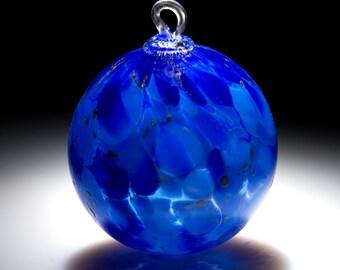 Ornament. Sun Catcher. Hand Blown Fine Art Glass.  Lapis Blue Witches Ball.  Made in Seattle.  Artist Dehanna Jones.