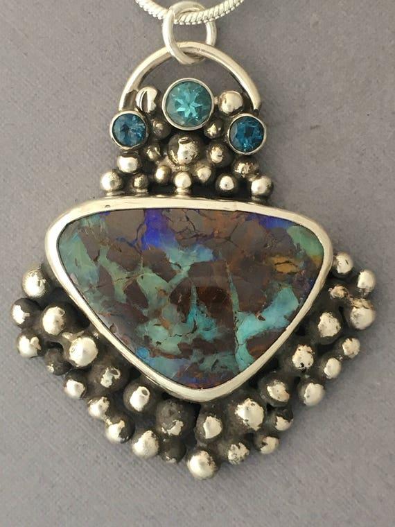 Boulder Opal, Apatite and Topaz pendant